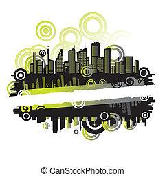 ramme, tekst, abstrakt, sted, cityscape, din