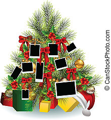 ramme, træ, jul