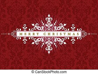 ramme, vektor, jul, udsmykket