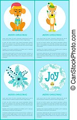 ramo, alegría, zorro, perro, saludo, feliz navidad, tarjeta