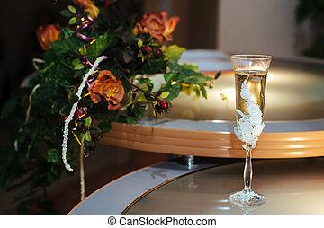 ramo, boda, champaña, anteojos