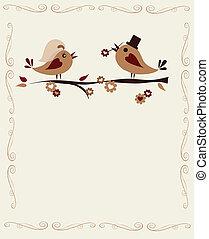 ramo, casado, pássaros, modelo, convite