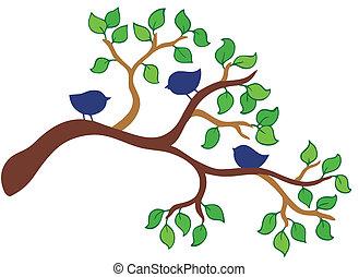 ramo, com, três, pequeno, pássaros