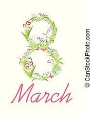 ramo, con, hermoso, flores del resorte, para, 8, marzo