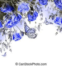 ramo, de, delicado, rosas, y, mariposa, floral, plano de...