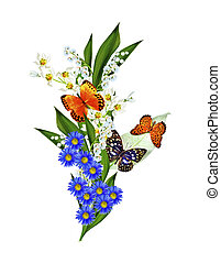 ramo, de, flores, e, borboletas, isolado, ligado, um, fundo branco