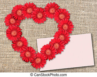 ramo, de, flores rojas, como, heart-form