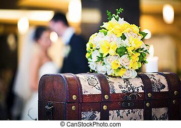 ramo de la boda, con, novia y novio
