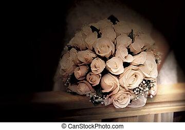 ramo de la boda, en, sepia, tonos