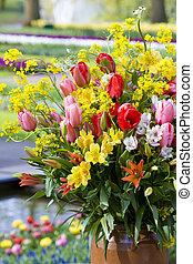 ramo de la flor, keukenhof, jardines, lisse, países bajos
