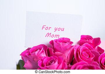 ramo, de, rosas rosa, con, día madres, mensaje