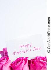ramo, de, rosas rosa, con, feliz, día madres, tarjeta, en, rosa