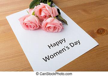 ramo, de, rosas rosa, con, mujeres felices, día, mensaje