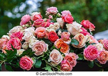 ramo, de, rosas rosa