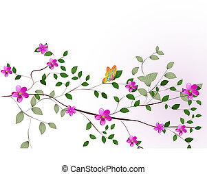 ramo, de, um, árvore, com, flores