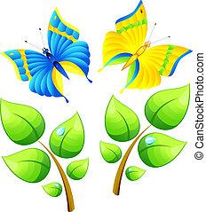 ramo, e, farfalla