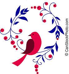 ramo, fiori, seduta, uccello, rosso