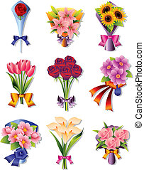 ramo, flor, iconos