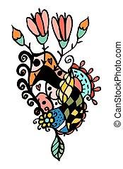 ramo floral, flores retro