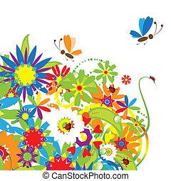 ramo floral, ilustración, verano