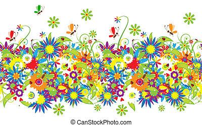 ramo floral, verano, ilustración