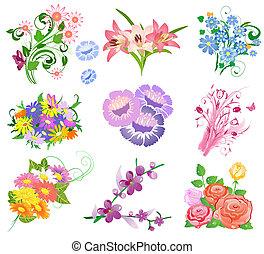 ramo, flores, conjunto
