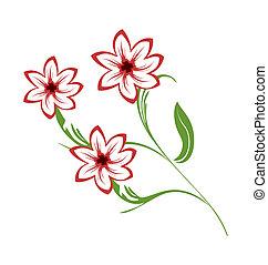 ramo, flores, ilustración