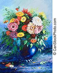 ramo, flores salvajes, florero