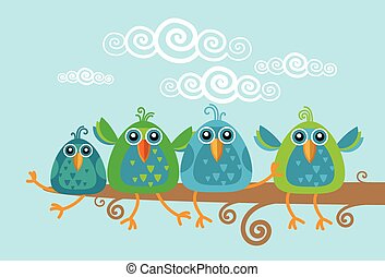 ramo, gruppo, seduta, uccelli