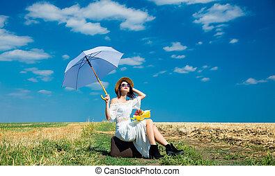 ramo, maleta, mujer, paraguas, joven
