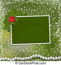 ramo, marco de la foto, flor, perlas