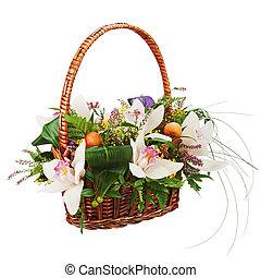 ramo, mimbre, aislado, fondo., cesta, blanco, orquídeas, ...