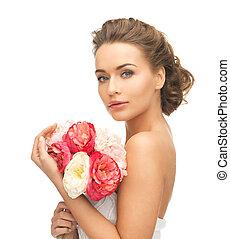 ramo, mujer, flores