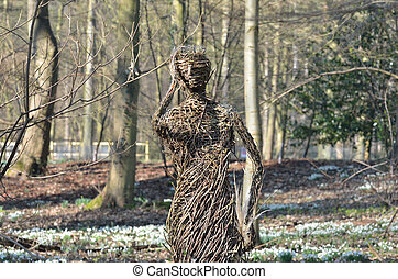 ramo, mulher, floresta