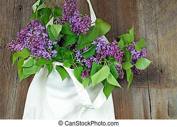 ramo, muselina, lila, saco