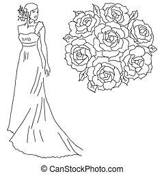 ramo, novia, flowers., silueta