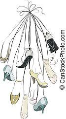 ramo, piernas, shoes, ahorcadura