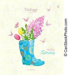ramo, primavera, botas, caucho, vendimia, flores, bandera