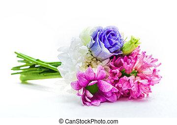 ramo, primavera, flowers., fresco