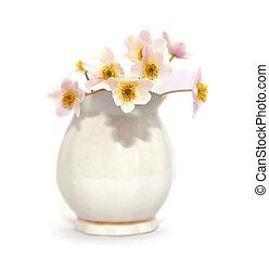 ramo, primavera, flowers., snowdrop, en, el, fondo blanco