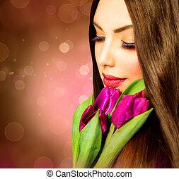 ramo, primavera, mujer, flor, belleza