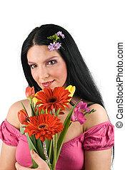 ramo, primavera, mujer, flores