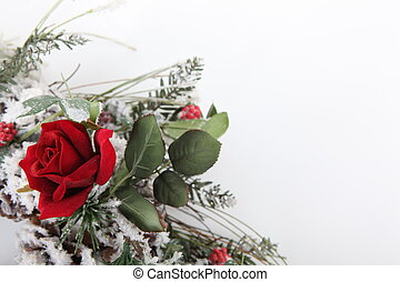 ramo, rosa, navidad