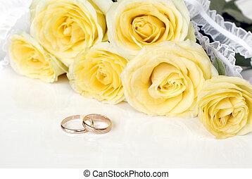 ramo, rosas, amarillo