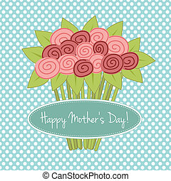 ramo, rosas, día, madres