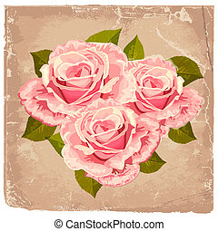 ramo, rosas, diseño, retro