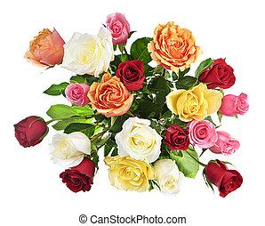ramo, rosas, sobre