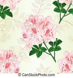 ramo, textura, flores, seamless, rhododendrons, vetorial, luz, vindima, cor-de-rosa