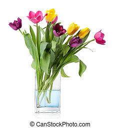 ramo, tulipanes, aislado, florero, vidrio, blanco