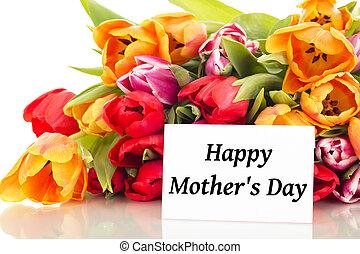 ramo, tulipanes, con, card:, día de la madre feliz